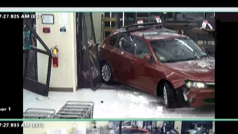 Wild video shows man driving vehicle inside Massachusetts store