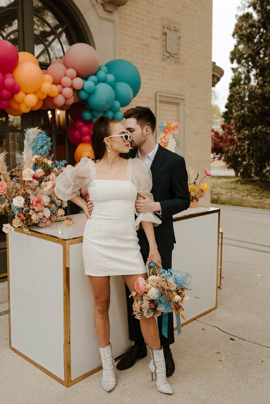 Fall in Love with the Disco Details in this Funky Elopement Inspiration