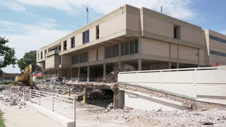 Former OKC Police HQ – Municipal Courts building being demolished